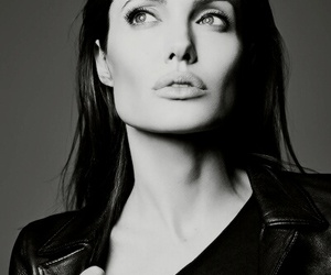 Angelina Jolie and black and white image