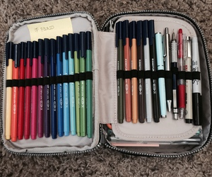 case, stationery, and pens image