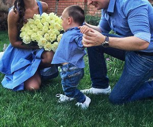 baby, flowers, and mom image
