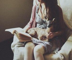book, girl, and deer image