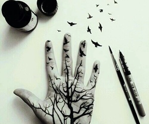 art, hand, and bird image