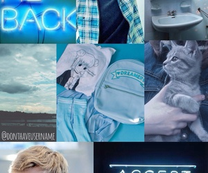 blue, Collage, and the maze runner image