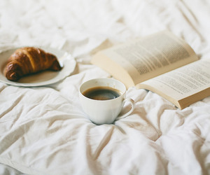coffee, book, and croissant image