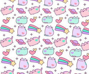 pusheen, cat, and stars image