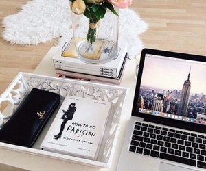 book, flowers, and style image