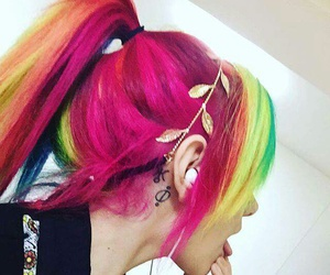 hair, rainbow, and colors image