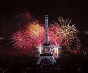 eiffel tower, france, and fireworks image