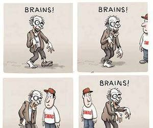 brain, funny, and zombie image
