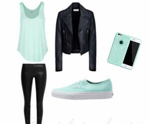 black, jacket, and mintgreen image