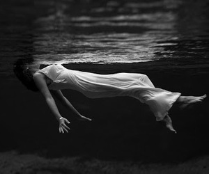 water, black and white, and woman image