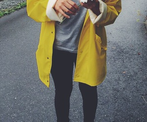 converse, raincoat, and yellow image