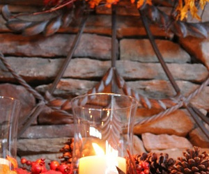 candles, pine cones, and autumn image