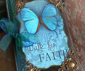 book, blue, and butterfly image