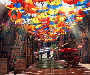 umbrella, street, and colors image