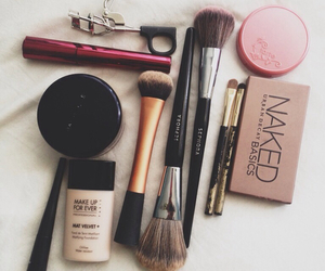 Brushes, makeup, and naked image
