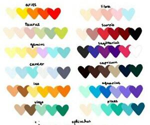 color palette, colors, and zodiac image