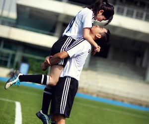 love, couple, and soccer image