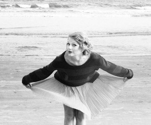 Taylor Swift, black and white, and beach image