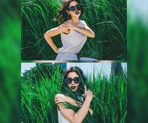 diamond, girl, and green image