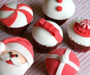 cupcake, christmas, and red image