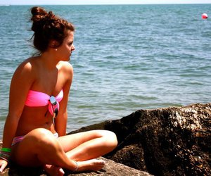 brunette, hair, and beach image