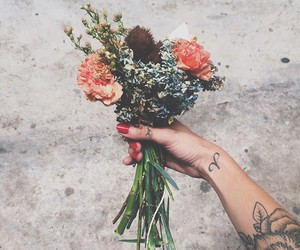 flowers, tattoo, and flores image