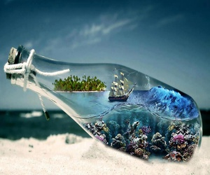 bottle, sea, and ocean image