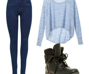 blue jeans, outfit, and boots image