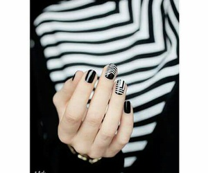 black and white, black and white stripes, and black nails image