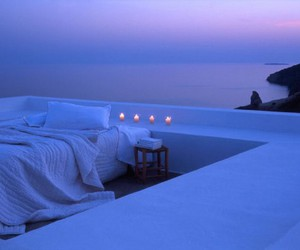 bed, candle, and sea image
