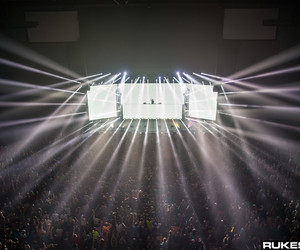 black and white, lights, and edm image