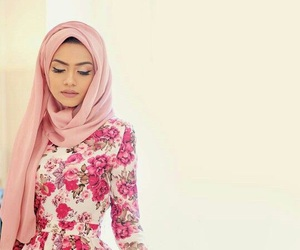 hijab, islam, and flowers image