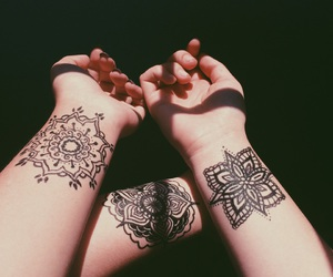 tattoo, hands, and mandala image