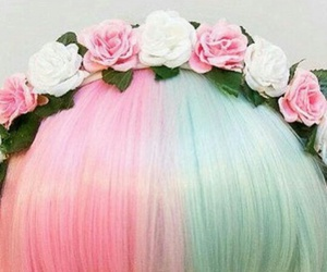 flowers, color, and hair image