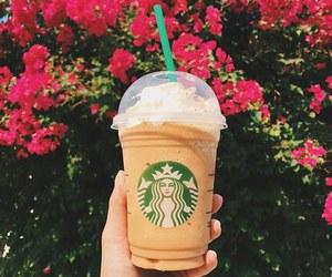 starbucks, coffee, and flowers image