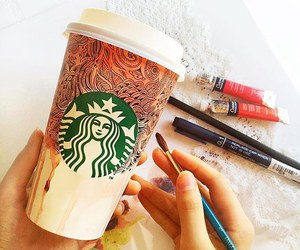 starbucks, art, and coffee image