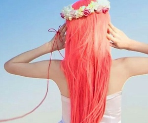 hair, pink, and flowers image