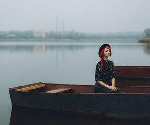 beauty, girl, and lake image