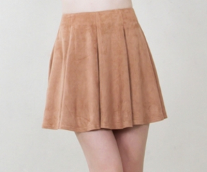 cute skirt, skater skirt, and tan skirt image