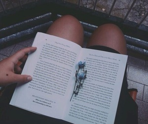 book, grunge, and flowers image