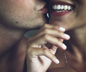 couple, kiss, and smile image
