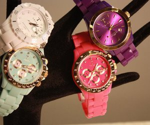 watch, pink, and white image