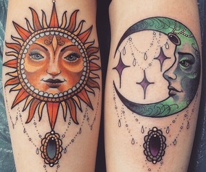 tattoo, sun, and moon image