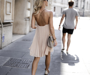 dress, light pink, and street style image