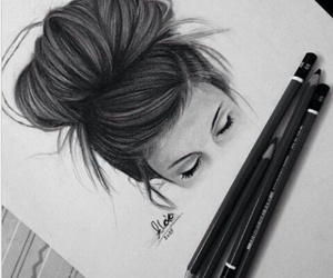 draw, eyes, and black and white image