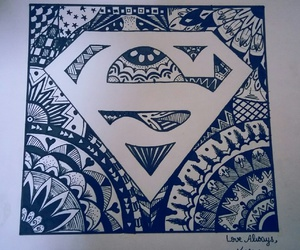 black&white, superman, and drawing image