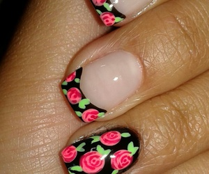 black and pink, nail, and nail art image