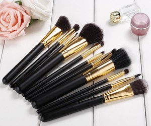 Brushes, girl, and black image