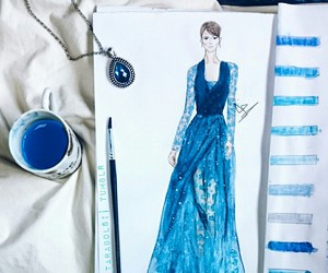 blue, Couture, and watercolors image