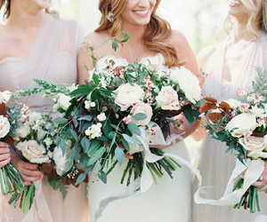 bridal, bridesmaids, and flowers image